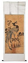 Chinese scroll phoenix resting on rockwork and with flowers
