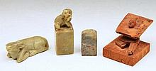 Group of smaller Chinese items viz two soapstone Chinese se