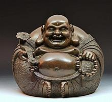 Chinese bronze model of Hotei holding a ruyi and beads, 20t