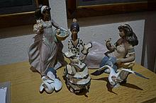 Three Lladro figures and a pair of Lladro model herons