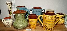 Devon pottery with inscriptions, to include a puzzle jug, l