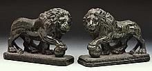 Pair of English serpentine model Medici lions circa 1900, 2