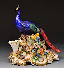 English porcelain model peacock circa 1870, 17cm