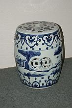 Chinese blue and white porcelain conservatory barrel with b