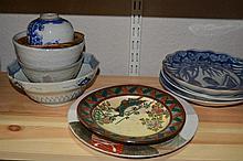 Japanese Kutani plate Geisha and child, 23.5cm, various Ari