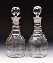 Pair of George III glass fluted decanters and stoppers, 30c