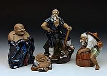Four Chinese figures to include two models of Hotei and two