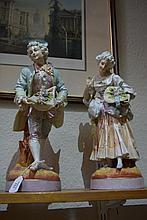 Pair of Sitzendorf porcelain figures of a Galante and his l