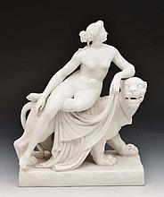 Minton Parian model 'Ariadne' and 'The Panther', 30cm acros