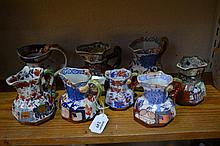 Collection of Masons Ironstone jugs 19th Century, largest 1