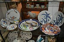 Chinese Imari plate together with a pair of Chinese export