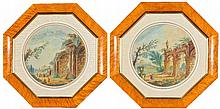 19th Century English School Pair of circular Italianate lan