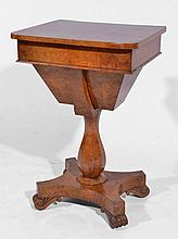 Burr walnut sewing table early Victorian on an octagonal co