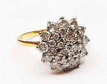 9ct gold ring with multi diamond cluster setting