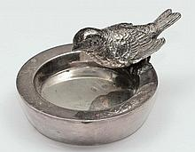 Russian silver model of a bird seated on the edge of a bath
