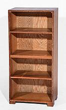 Arts and Crafts oak open bookcase of plain form with 5 shel