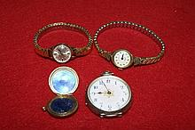 Continental 935 metal pocket watch with enamel dial, togeth