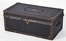 George III brass bound and studded trunk with carrying hand