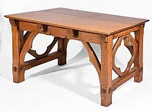 Gothic Revival light oak table the rectangular top on chamf