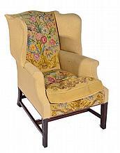 George III wingback armchair with button needlework upholst