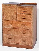 Heals style limed oak chest circa 1930s, with cupboard sect