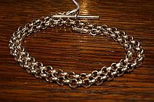 9ct gold watch chain of link form with 'T' bar, 52 grams
