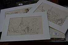 Robert Pile Folio of unframed pen drawings