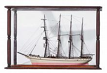 Model four masted sailing ship HMS Benfield with rigging, i