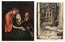 19th Century English School Girl crying while a child and a