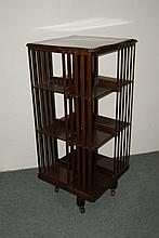Walnut revolving bookcase Edwardian, 46cm square