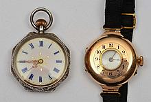 9ct gold half Hunter wrist watch with enamel dial, together