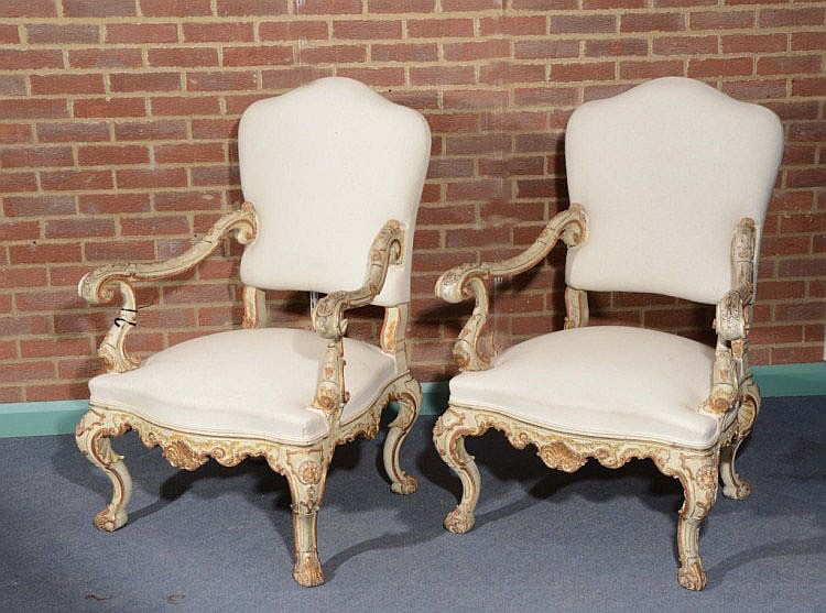 A PAIR OF 18TH CENTURY ITALIAN ARMCHAIRS each with