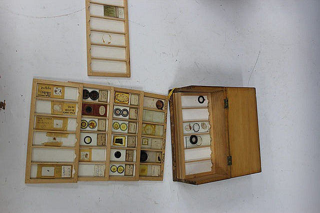 A SMALL BOX OF VARIOUS MICROSCOPE SLIDES in a
