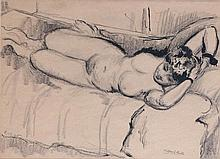 Clifford Hall (British, 1904-1973)  Reclining nude, 1945