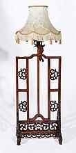 A CHINESE HARDWOOD LAMP BASE of table screen form, 120cm high overall