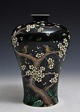 A CHINESE FAMILLE NOIR SMALL MEIPING VASE with enamel tree, blossom and birds, Kangxi mark, 19th Cen
