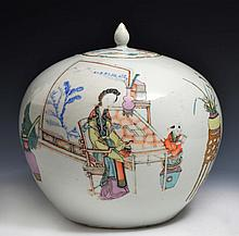 A CHINESE OVOID VASE and cover, lady and child at a painting table, with inscription, late 19th Cent