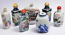A COLLECTION OF SEVEN CHINESE PORCELAIN SNUFF BOTTLES including a pair of hexagonal form with figure