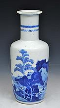 A CHINESE BLUE AND WHITE PORCELAIN SMALL ROULEAU VASE, fishermen in a lake landscape, 19th Century,