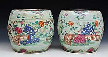 A PAIR OF CHINESE CANTON SMALL CONSERVATORY SEATS with garden scenes with birds, insects and flowers
