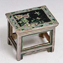A CHINESE BISCUIT FAMILLE NOIR MINIATURE PAINTING TABLE with chrysanthemums to the top, 19th Century