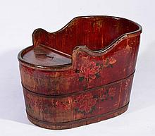 A CHINESE PAINTED CHILD'S CHAIR of oval form, 19th Century, 82cm