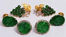 A PAIR OF CHINESE 18K GOLD EARRINGS with jade settings, a pair of Chinese yellow metal earrings in t