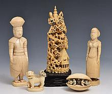 A PAIR OF SRI LANKAN CARVED IVORY FIGURES 15cm, a Chinese carved ivory clam shell and two other Chin