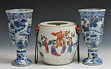 A CHINESE POLYCHROME BARREL with enamelled court figures, 12cm, Daoguang and a pair of Chinese Vung