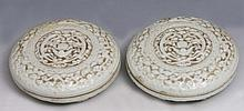 A PAIR OF CHINESE DEHUA CIRCULAR INK POTS and covers with bats and clouds, Qianlong mark, 19th Centu
