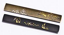 TWO JAPANESE SHIBUICHI KOZUKA, one with Shakudo Nanako plate decorated in takazogan, signed, the oth