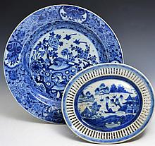 A CHINESE BLUE AND WHITE PORCELAIN CHARGER, phoenix and rockwork, Kangxi, 36cm and a Chinese export