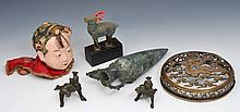 A COLLECTION to include a Chinese carved cover, two Indian bronze figures, a Chinese doll's head, a