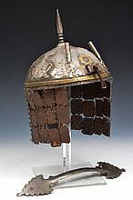 A PERSIAN 17TH CENTURY STYLE METAL HELMET, 19th Century